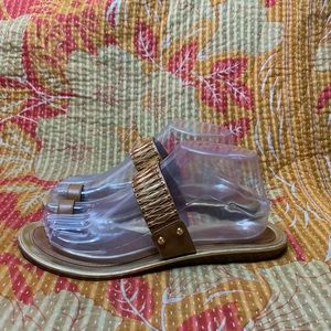 Kate Spade Slide Flats Sandals Tan Gold Leather 9